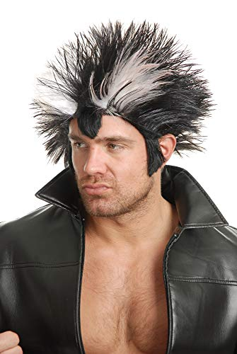 Charades Men's Wolfman Wig, Black/White, One -