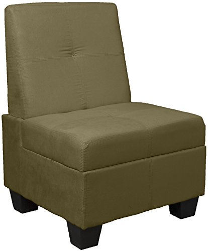 Epic Furnishings Butler Microfiber Upholstered Tufted Padded Hinged Storage Ottoman Bench, 24-inch-size, Microfiber Suede Olive Green (Bench Suede Upholstered)