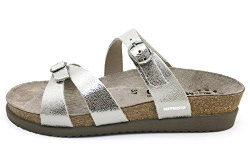 Mephisto Womens Hannel Nubuck Sandals plateado