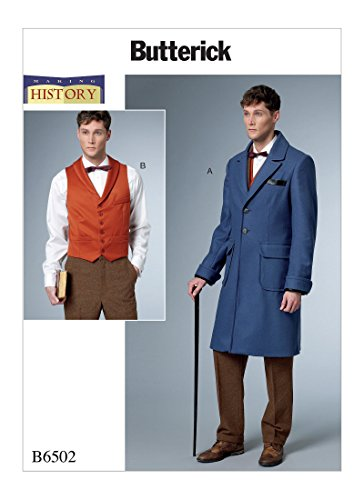 [Butterick Patterns B6502 Q Men's Single-Breasted Lined Coat and Vest with Back Belt Costume by Making History, Size MQQ (46-52) 6502] (Butterick Mens Costume Patterns)