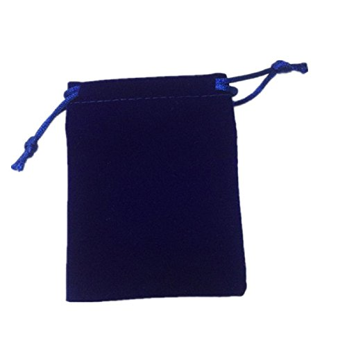 KUPOO 50 Pieces Wholesale Lot Velvet Pouches with drawstrings,pouches bags 3 X 4 Inch (Dark blue)