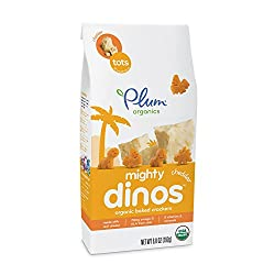 Plum Organics Mighty Dinos, Organic Toddler Snack, Baked Crackers, Cheddar, 6.8 ounce (Pack of 8)