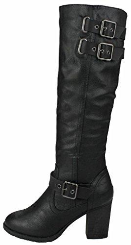 Wedge Women 16 Decorative suede Black High Leatherette Zipper Faux Boots Buckle Gold Chunky Knee Dress Fggp60q