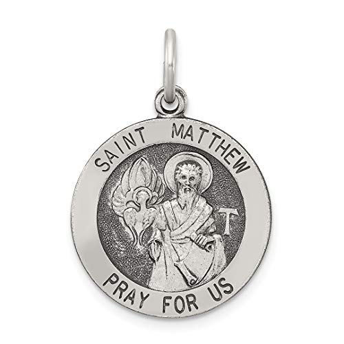 (925 Sterling Silver Saint Matthew Medal Pendant Charm Necklace Religious Patron St Fine Jewelry For Women Gift Set)