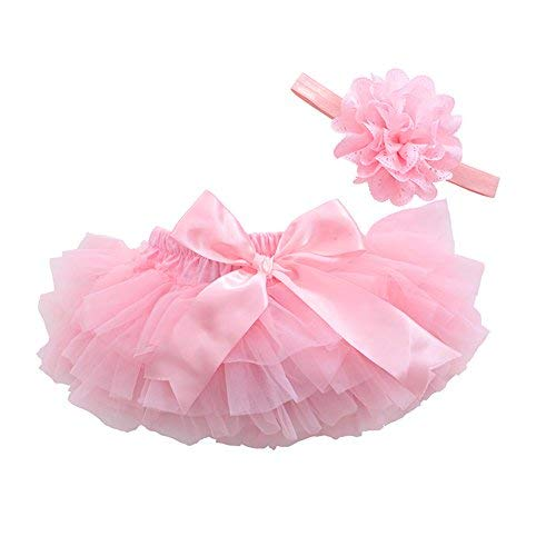- muyan Girls Cotton Tulle Ruffle with Bow Baby Bloomer Diaper Cover and Headband Set (Pink, M(6Month-12Month))