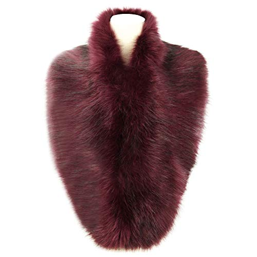 Dikoaina Extra Large Women's Faux Fur Collar for Winter Coat (120cm, Deep purple)]()
