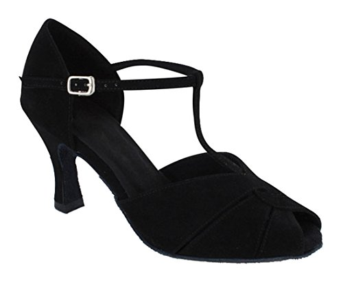 Sandals Black Suede Party Samba Joymod Shoes Cut T Toe Tango Heel Out Rumba Peep Wedding 8cm Latin MGM Women's Leather Strap Modern Salsa Ballroom Dance RxnBAnP1
