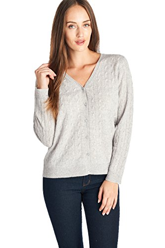 Cable Cashmere Sweater (Mariyaab Women's 100% Cashmere Cable Knit V-Neck Cardigan (T618C, HeathGrey, M))