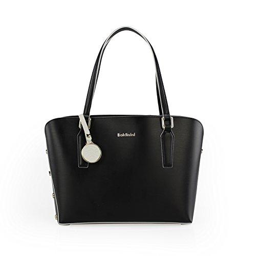 Baldinini Bolso de tela de Cuero para mujer 30 X 24,5 X 11 cm Blanco Y Negro