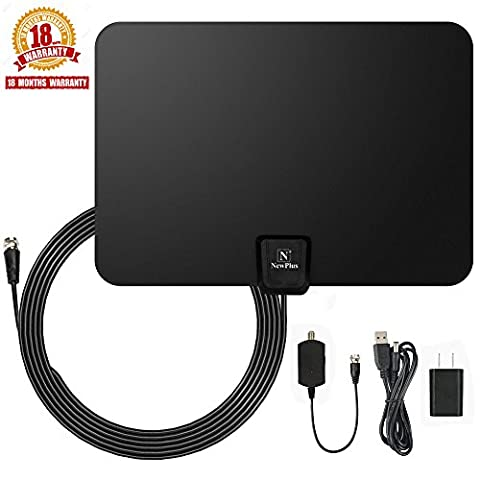 TV Antenna, NewPlus Indoor Amplified HDTV Antenna 50 Mile Range with Detachable Amplifier Signal Booster, USB PowerSupply and 16.5FT High Performance Coax Cable- Upgraded 2017 Version Better - Check Cable Analyzer