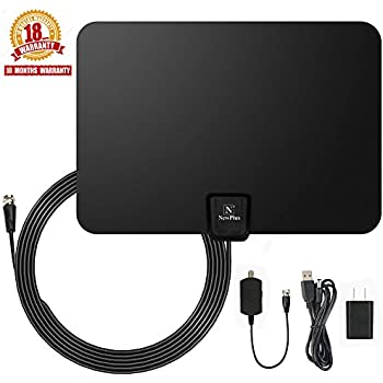 TV Antenna, NewPlus Indoor Amplified HDTV Antenna 50 Mile Range with Detachable Amplifier Signal Booster, USB PowerSupply and 16.5FT High Performance Coax Cable- Upgraded 2017 Version Better Reception