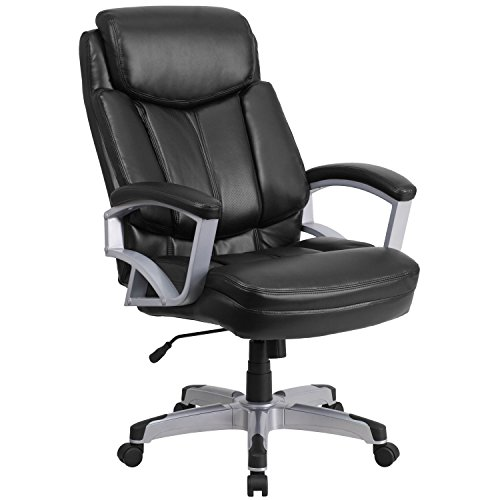 Adjustment Pneumatic Swivel Series Seat (Flash Furniture HERCULES Series Big & Tall 500 lb. Rated Black Leather Executive Swivel Chair with Arms)