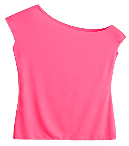JustinCostume Women's 80's T Shirt 1980's Costume (X-Large, Hot Pink) -