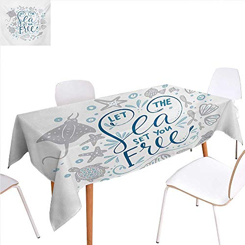 familytaste Nautical Patterned Tablecloth Let The Sea Set You Free Quote with Shellfish Turtle and Stingray Dust-Proof Oblong Tablecloth 70