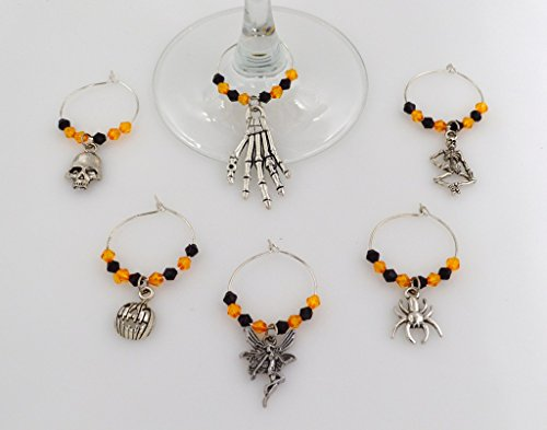 Halloween Wine Glass Charms with Orange and Black Beads - 6 Piece Cocktail Drink Charm Set in Black Velour Gift Pouch (Halloween Decorated Bottles)