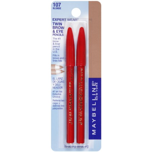 Maybelline New York Expert Wear Twin Brow and Eye Pencils, 107 Blonde, 0.03 Ounce