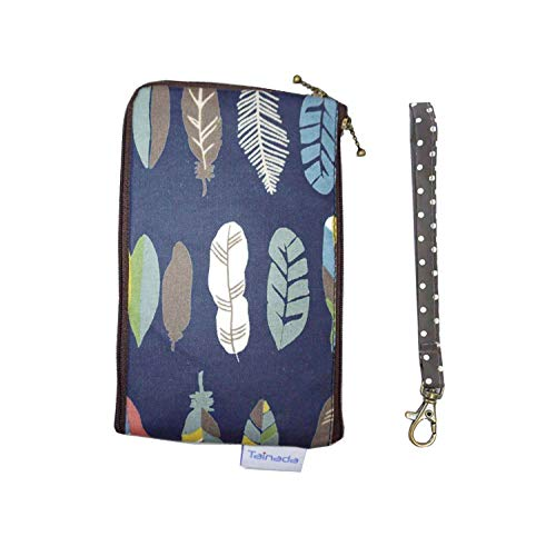 Smartphone Wristlet Wallet Pouch, Tainada Dual Layers Zipper Purse Shockproof Water-Repellent Carry Case Bag for iPhone Xs Max, XR, 8 Plus, Samsung S10+, Google Pixel 3 XL(Feather Pattern Navy Blue) ()