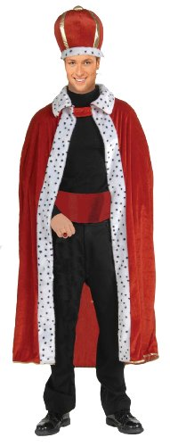 Forum Novelties Men's King Robe and Crown Set, Red, One Size -