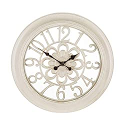 Wisechoice Antique White Wall Clock with Floral Design, 18 Inch Diameter