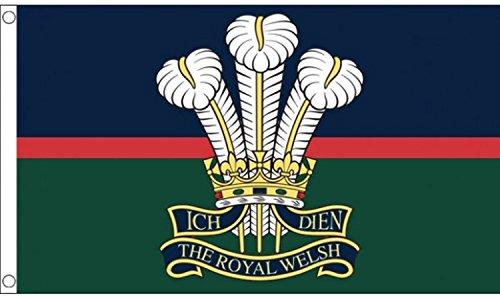 British Army Royal Welsh Regiment Flag 5'x3' (150cm x 90cm) - Woven - Pin Regiment