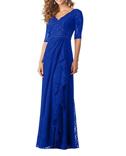Abendkleider Brautmutterkleider Etuikleider Festlichkleider Damen Royal Partykleider Langes Charmant Langarm Spitze V Ausschnitt Blau Bodenlang wItnqHnSd