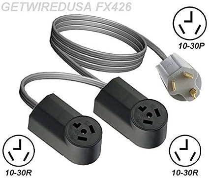 10-30P Y ADAPTER DUAL 10-30R 3-PIN RECEPTACLE SPLITTER 2 ADD A SECOND DRYER  NEMA