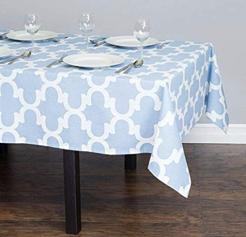 (TC Tanu Collections Rectangle Tablecloth - 60 X 126 Inch for 8 Foot Table 100% Cotton - Great for Buffet Table, Parties, Holiday Dinner, Wedding, Trellis Powder Blue & White)