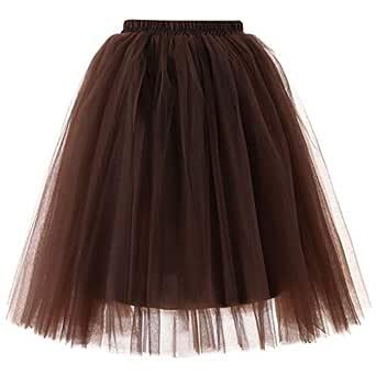 XNBZW Falda de ballet corto vintage para mujer marrón café talla ...
