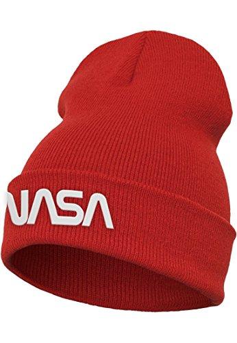 Mister Tee Nasa Worm Logo Beanie Cap, Red, One Size
