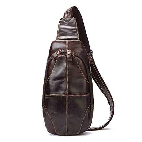 Mens chest bag retro slung shoulder bag casual mens bag brown