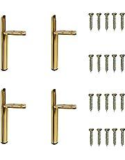 4 stuks ijzeren meubelpoten, 13 cm/ 5,12 inch doe-het-zelf metalen tafelpoten, meubelsteunpoten, modern, geleverd met 20 schroeven, voor bank, salontafel, tv-kast, bed en andere meubels (goud)