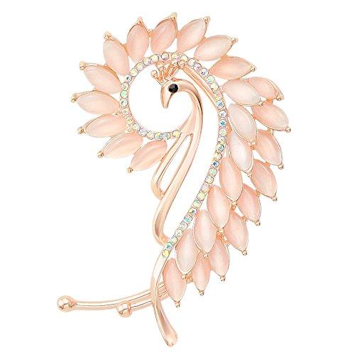 Peacock Earring Cuffs Pink Cat Eye Stone Ear Wrap Earring Art Deco Non Pierced Earring for Left Side Ear