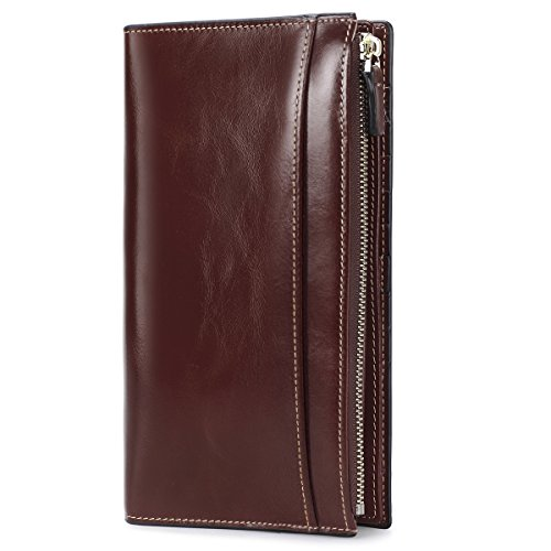 Check Leather Wallet (On Sale - S-ZONE Women's Genuine Leather Trifold Long Wallet Card Case Slim Clutch Purse (Coffee))