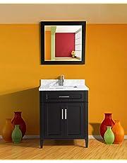 Vanity Art 30-Inch Single Sink Bathroom Vanity Set | Carrara Marble Stone Top, 1 Drawer 1 Shelf Soft Closing Doors Undermount Sink with Free Mirror - VA2030-E