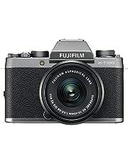"""Fujifilm Kit X-T100 Fotocamera Digitale 24MP (APS-C), Mirino EVF, Schermo LCD Touch da 3"""" Inclinabile a 180°, WiFi e Bluetooth + XC 15-45mm F/3.5-5.6 OIS PZ MILC, 24.2MP, CMOS, Argento Scuro"""