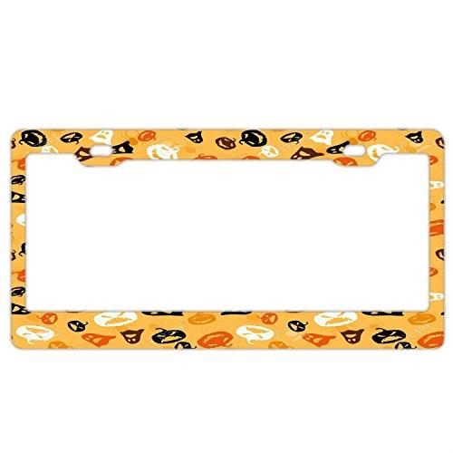 Halloween Seamless Pattern License Plate Holder - Stainless Steel Metal License Plate Frame For Women,License Plate Frames Humor]()