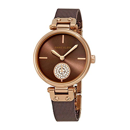 Anne Klein Swarovski Crystals Brown Dial Ladies Watch 3001RGBN