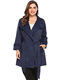 93d3ee8126318 Womens Plus Size Light Weight Hooded Trench Coat Jacket with Belt