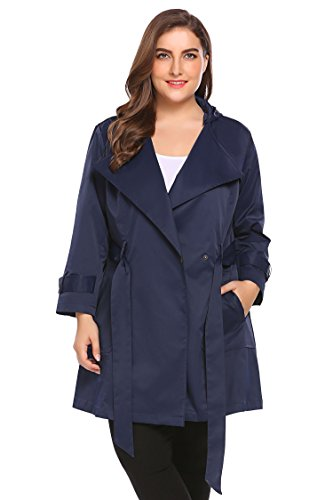 Double Breasted Lightweight Coat - Involand Womens Plus Size Double-Breasted Hooded Trench Coat Jacket with Belt, Navy Blue, 14W