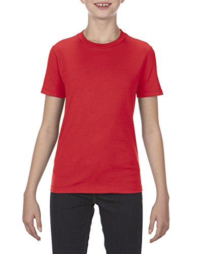Alstyle Apparel AAA Big Kids' Youth Ultimate Ringspun T-Shirt, Red, - Stretch Jersey Sleeve Pima