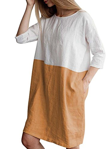 - Famulily Women's Cotton Linen Oversized Round Neck Colorbock Loose T-Shirt Dresses with Pockets Khaki S