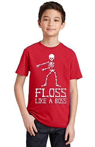 Floss Like A Boss Funny Dance Halloween Youth T-Shirt, Youth L, Red ()