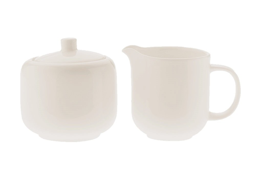 Fitz and Floyd Maxwell and Williams Basics Sugar and Creamer Bowl Set, White P865102