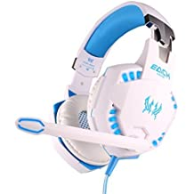 Swell Vibration Function Professional Gaming Headphone Games Headset with Mic Stereo Bass LED Light for PC Gamer (White)