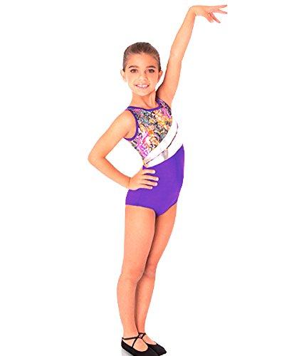 Body Wrappers 2327 Girls Metallic Gymnastics Tank Leotard (12-14, Hologram Floral Lace w/ Bright Purple)