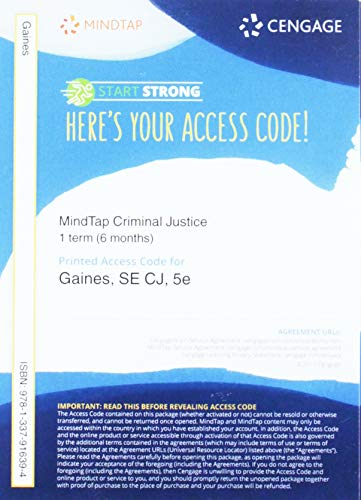MindTap Criminal Justice, 1 term 6 months) Printed Access Card for Gaines/Miller's CJ, 5th (Cj Access Code)