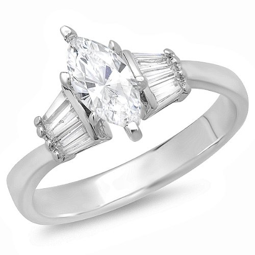 Marquise Baguette Solitaire - Dazzlingrock Collection 1.25 Carat (ctw) 14K Marquise and Baguette Cubic Zirconia Solitaire with Accents Ladies Engagement Ring, White Gold, Size 7.5