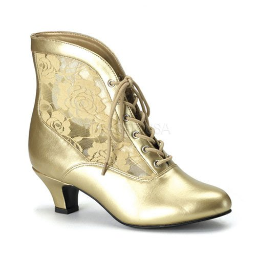 Pleaser Dame-05 (8, Gold) Victorian Granny Boots Lace Accent