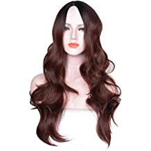 Aogsy Long Wave Wigs Natural Ombre Women Synthetic Party (Brown)