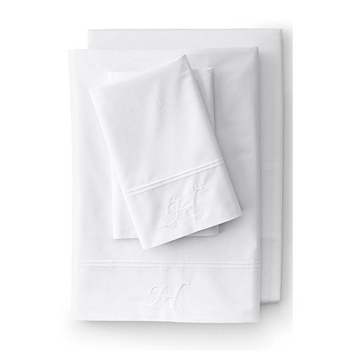 Lands' End School Uniform 200 Percale Solid Pintuck Sheets, K, White by Lands' End